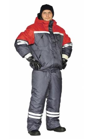 """Костюм зимний """"СТИМ"""" куртка/полукомб. цвет: т.серый/красный"""
