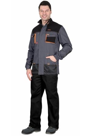 """Куртка """"СИРИУС-МАНХЕТТЕН"""" т.серый с оранж. и черным"""